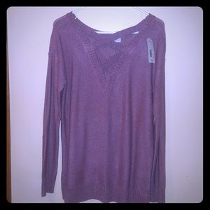 Mauve over-sized sweater w/criss-cross neck detail